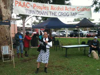 Donna Ah Chee CEO Central Australian Aboriginal Congress  at the PAAC rally. Photo  Alice Springs News Online